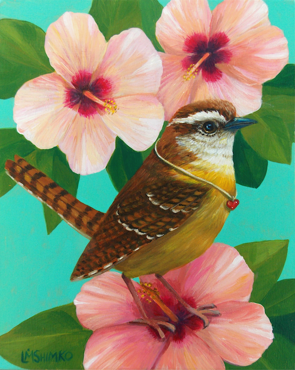 Carolina Wren Hibiscus by Lisa Shimko